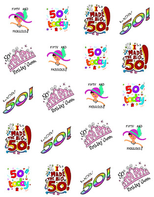 Fabulous 50th Birthday  Waterslide Nail Decals/Nail art