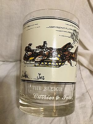 """1981 Currier & Ives """"The Sleigh Race"""" Arby's Collector's Series 12 oz Glass"""
