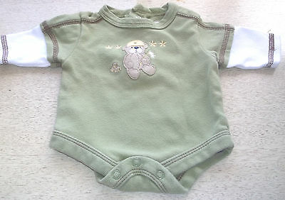 One-Piece Unisex Olive Teddy Bear Baby Connection Size Preemie 100% Cotton