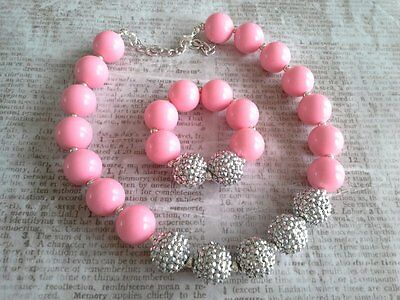 childrens girls bubblegum chunky bead necklace set lot pink sparkle silver