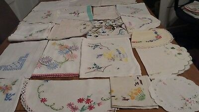 Job Lot Of 20 Pieces Of Vintage Linen  For Craft Work/rework/cut-Work. Only.