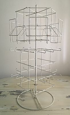 """ANTIQUED CARD & JEWELRY DISPLAY RACK - White Carousel Multi Level - 360 Spin 29"""""""
