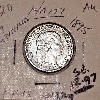 1895 Haiti 20 Centimes Silver Coin - About Uncirculated