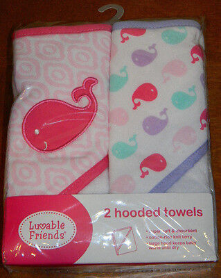 New Luvable Friends Pink White Ocean Sea Whale Hooded Baby Bath Towels Set
