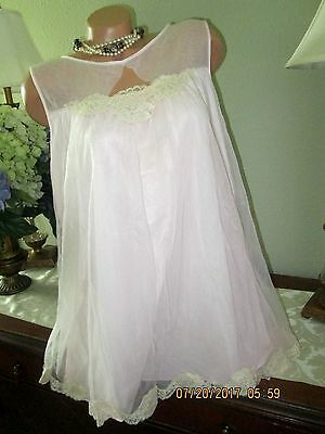vtg Double Layer Short Babydoll Nylon Nightgown Large Pink dress gown lingerie