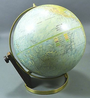 "Vtg  Replogle Raised Terrain Land & Sea True-to-Life 12"" Globe Wood & Metal Base"