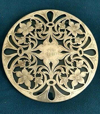 "Tiffany Sterling Silver 3092 Over Glass Trivet, 10"" dia 1900's Antique Rare"
