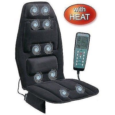 Massage Chair Cushion Heat Back Neck Vibrating Seat Body Massager Portable NEW