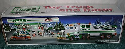 1991 Hess Toy Truck & Racer New In Box Real Lights Friction Motor Holiday Tradit