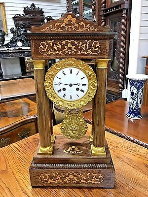 Beautiful French Empire Portico Inlayed Mantel Clock 1880