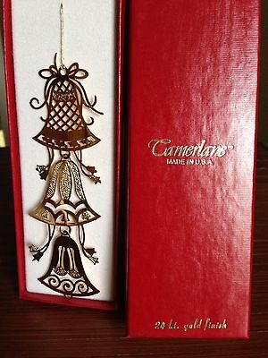 "Camerlane 24K Gold Finish Christmas Bells Ornament #10417 ""Chimes"", USA, New"