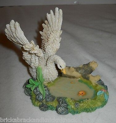 "Swan In A Pond Decorative Figure ""k's Collection"" 4"" ""scene"" W/fish & Foliage!"