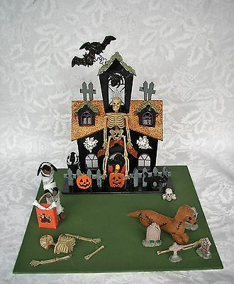 Dachshund Red Brown Black & Tan Lighted Haunted House Halloween Tabletop Decor