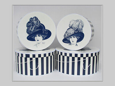 "Extravagant HISTORICAL MILLINERY CAMEO 14""-18"" x 9"" Deep ~ HatBoxes ~ Stack of 4"