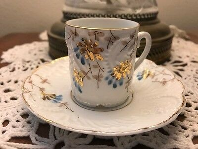 Cup and Saucer Demitasse China Porcelain White and Gold Floral unmarked/ Vintage
