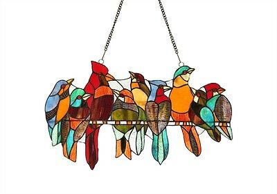 """Birds On A Wire Stained Glass Window Panel Suncatcher 21.5"""" Long x 13"""" High"""