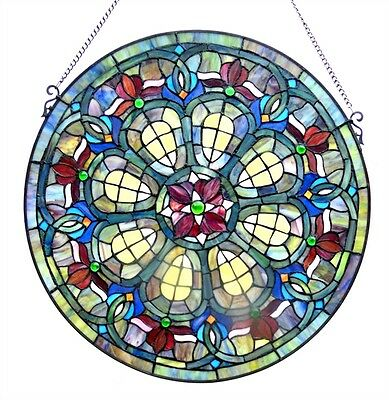 """Tiffany Style 24"""" Diameter Round Victorian Design Stained Glass Window Panel"""