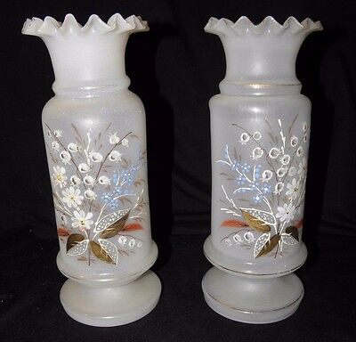 """Antique PAIR of BRISTOL GLASS VASES~OPAQUE WHITE~HAND PAINTED FLORAL & GOLD 10"""""""