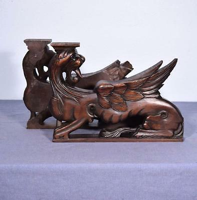 *French Antique Solid Walnut Wood Statues/Pedestals with Griffins w/Wings
