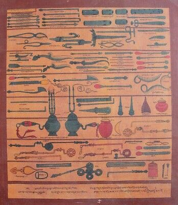 Old Rare Late 20C Buddhist Medical Instruments Thangka Painting Tibet