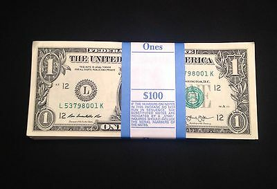 2013 New Uncirculated Sequential $1 dollar bills-pack of 100