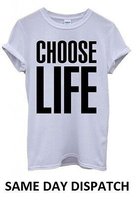 Choose Life T Shirt Wham! Inspired Tee 80's Fancy Dress George Top Michael NEW