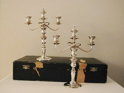 Pair Of Antique Weighted 950 Sterling Convertible Candlesticks & Candelabra
