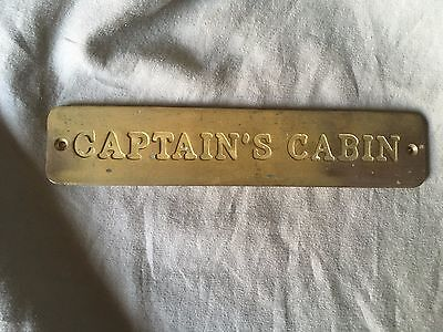 Vintage Solid Brass Ship CAPTAINS CABIN Sign Plaque Nautical True