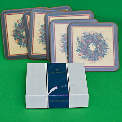 Vintage Set Of 6 Pimpernel Square Christmas Wreath Coasters With Box