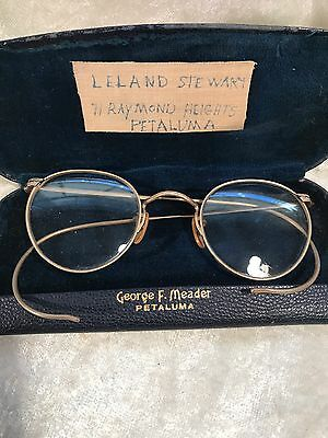 Vintage Wire Framed Round Eyeglasses With Case