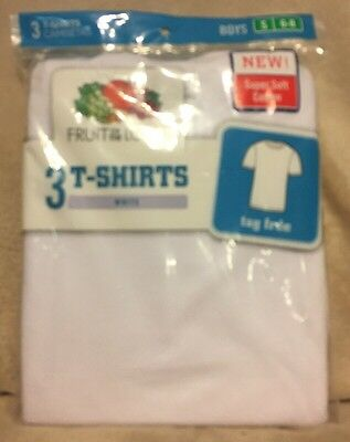 Fruit Of The Loom Boys 3 Pack White T-Shirts New Size Small 6-8