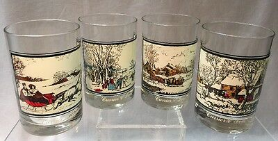 Currier & Ives 1978 Arby's Collector Complete Set of 4 Highball Tumblers Glasse