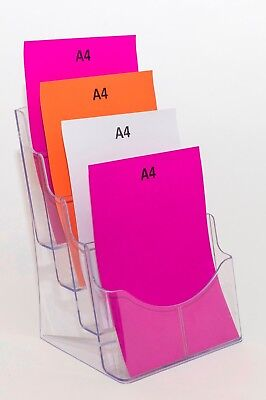 A4 Brochure Display Stand - 4 Pocket, Clear Plastic Construction BHA44