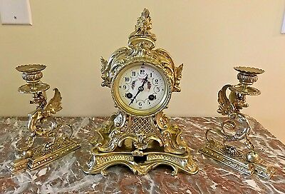 Beautiful Antique France Bronze Mantel Clock With 2 Griffin Candelabras 1890
