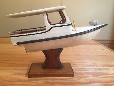 Antique Folk Art Hand Made Wood Nautical Sailing /Speed Ship Boat