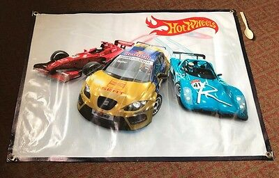Hot Wheels Racing Car Set Poster Model Banner Toy Yellow Red Blue Track Sign A12