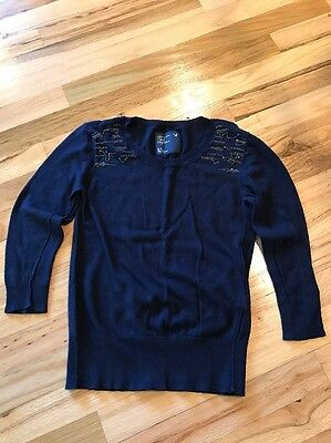 Ladies American Eagle Outfitters Blue 3/4 Sleeve Sweater Size Medium