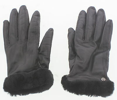 Women's Ugg Classic Leather Smart Gloves Brown Touch Screen Size Large