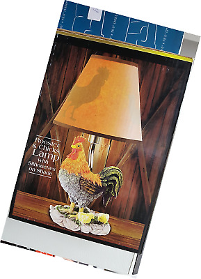 "11"" Hand Painted Rooster And Chicks Accent Lamp With Silhouette Shade"