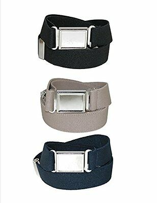 CTM? Kids Elastic Adjustable Belt with Magnetic Buckle (Pack of 3 Colors) Bla...