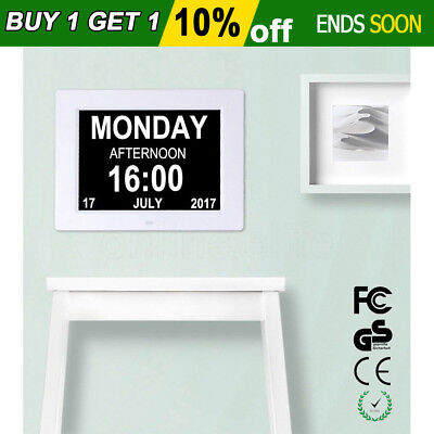 """8"""" LED Large Time Day/Week/Month/Year Colors Dementia Digital Calendar Day Clock"""