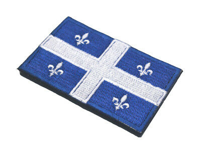 Canada Quebec State Flag Qc Can Army Morale Badge Tactical Hook & Loop Patch -01