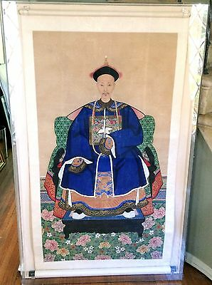 LARGE Antique Authentic Chinese Hand Painted Gouache Ancestral Portrait, framed