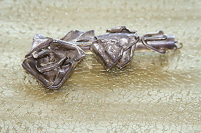 Solid Silver Vintage Rose Pin