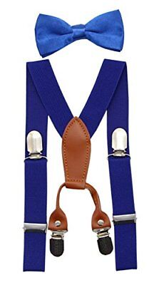 JAIFEI Toddler Kids 4 Clips Adjustable Suspenders and Matching Bow Tie Set (R...