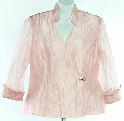 Women's R & M RICHARDS Pink Long Sleeve Top Jacket Size 12
