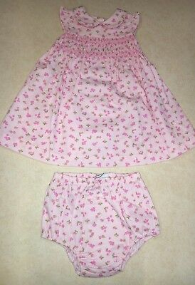 Baby Girls Laura Ashley Short Sleeve Floral Dress & Bloomers Size 18 Months New