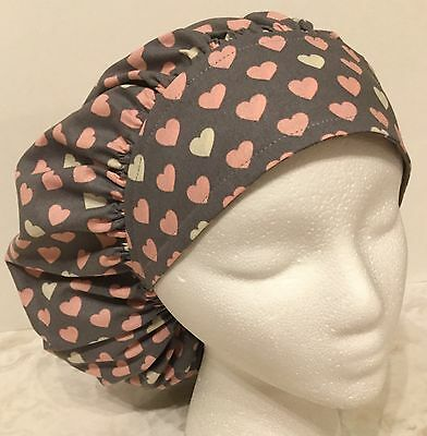 Pink Hearts on Gray Size: Large Medical Bouffant OR Scrub Cap Surgery Hat
