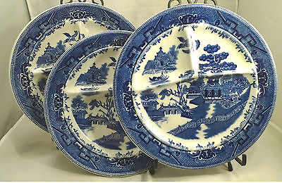 Lot 3 Vintage Plates Shenango Blue Willow Divided Dinner Plates Hotel Restaurant