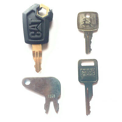 4 Pc Heavy Equipment Key Set - CAT, John Deere, Case,Caterpillar with OEM Logos